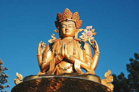 Left 19,5 meters high Golden Buddha Statue at Amideva Park   Gay Travel Nepal Photo Story Himalayas © Coupleofmen.com