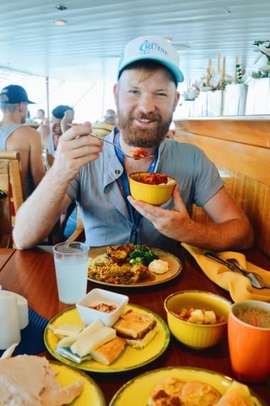 Daan enjoying the food from the buffet | Gay Couple Travel Diary The Cruise 2017 © CoupleofMen.com