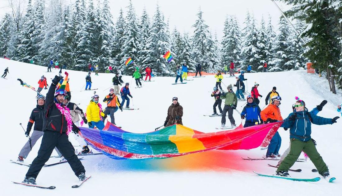 Rainbow flag over the slopes of Whistler Blackcomb   Whistler Pride Ski Festival 2018