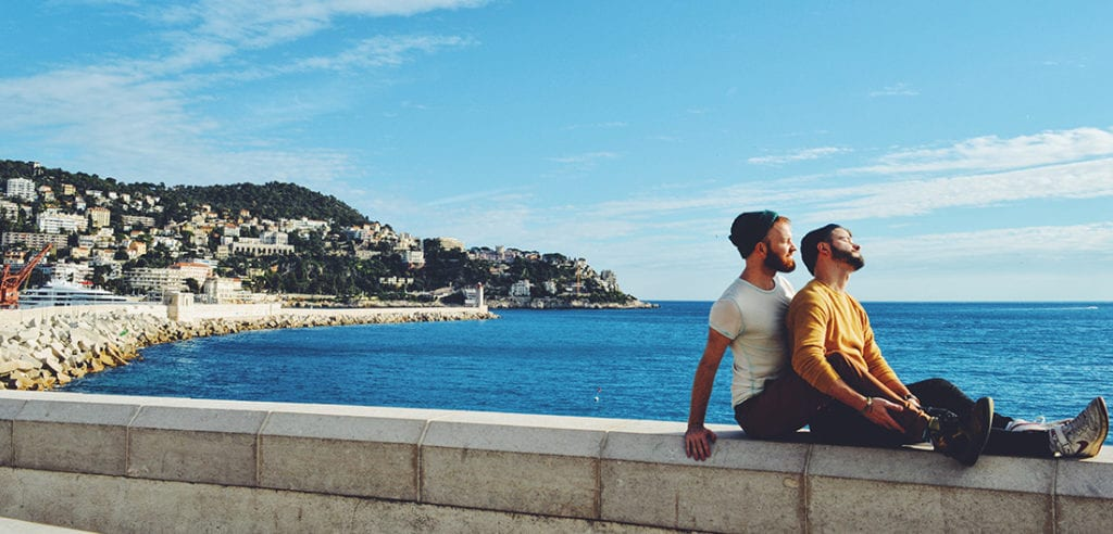 View over the harbor of City of Nice with a gay couple posing Gay Couple City Weekend Nice Fox in a Box - Escape Room in the French City of Nice © Karl Krause/ Daan Colijn. Copyright Information: It is not allowed to use, alter, transform or build upon our images or written content without our permission. If you are interested in a commercial or non-commercial/ editorial use of our images, videos or texts, please contact us before doing so. We gladly provide you with our rate card.