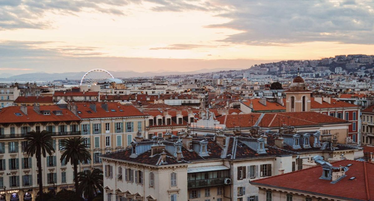Sunset over the roof tops of Nice, France