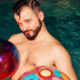 Karl loves the beach balls | Whistler Pride 2018 Gay Ski Week © Darnell Collins