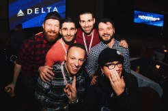 Group picture with Barb Snelgrove, Josh Rimer and our buddies Stefan & Seby from Nomadic Boys | Whistler Pride 2018 Gay Ski Week © Darnell Collins