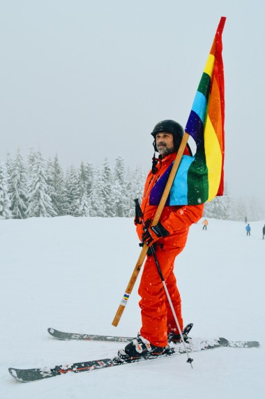 Come prepared with colorful rainbow flags | Whistler Pride 2018 Gay Ski Week © Coupleofmen.com