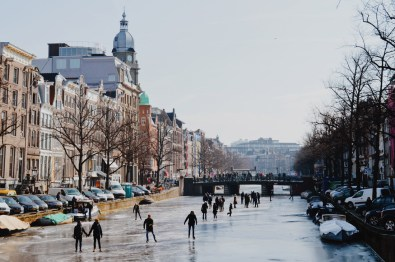 Winter on Amsterdam's Frozen Canals Ice Skaters on the Keizersgracht | Amsterdam Frozen Canals © Coupleofmen.com