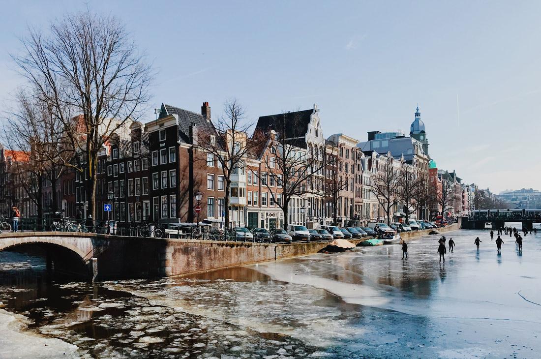 Winter on Amsterdam's Frozen Canals Frozen Keizersgracht   Amsterdam Frozen Canals © Coupleofmen.com