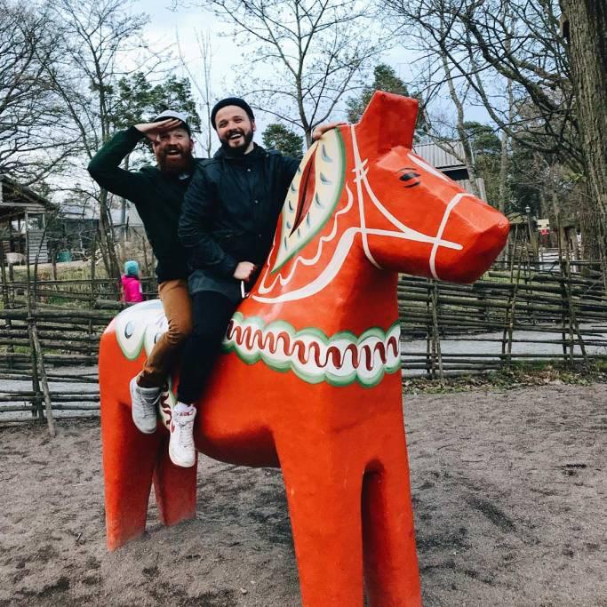 Riding a Dalecarlian or Dala horse at open-air museum Skansen | Gay Travel Tips for EuroPride 2018 Stockholm © Coupleofmen.com