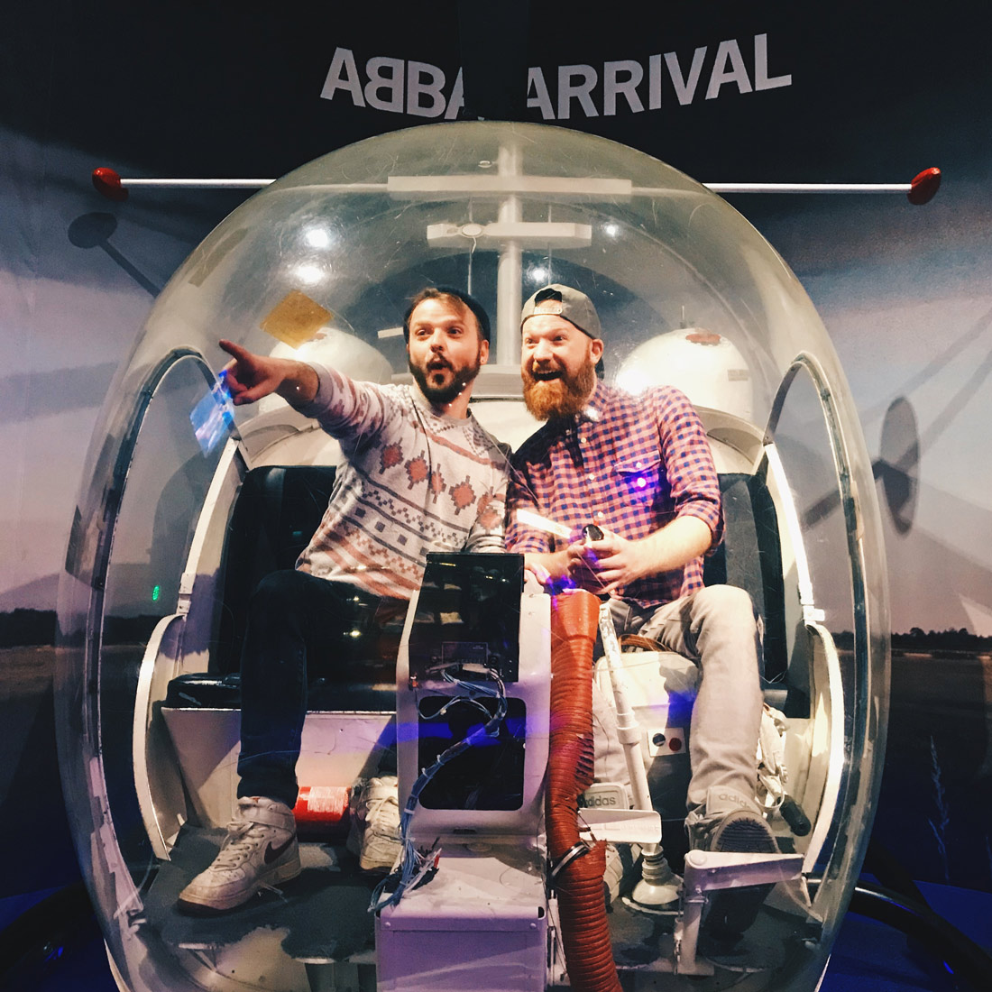 Couple of Men practising the ABBA Arrival on the famous helicopter   Gay Travel Tips for EuroPride 2018 Stockholm © Coupleofmen.com