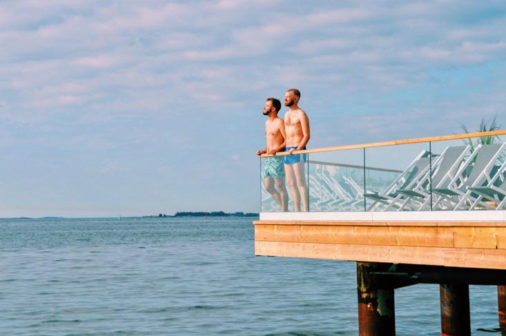 Gay Couple Finnish Design Sauna LÖYLY Helsinki Finland © CoupleofMen.com