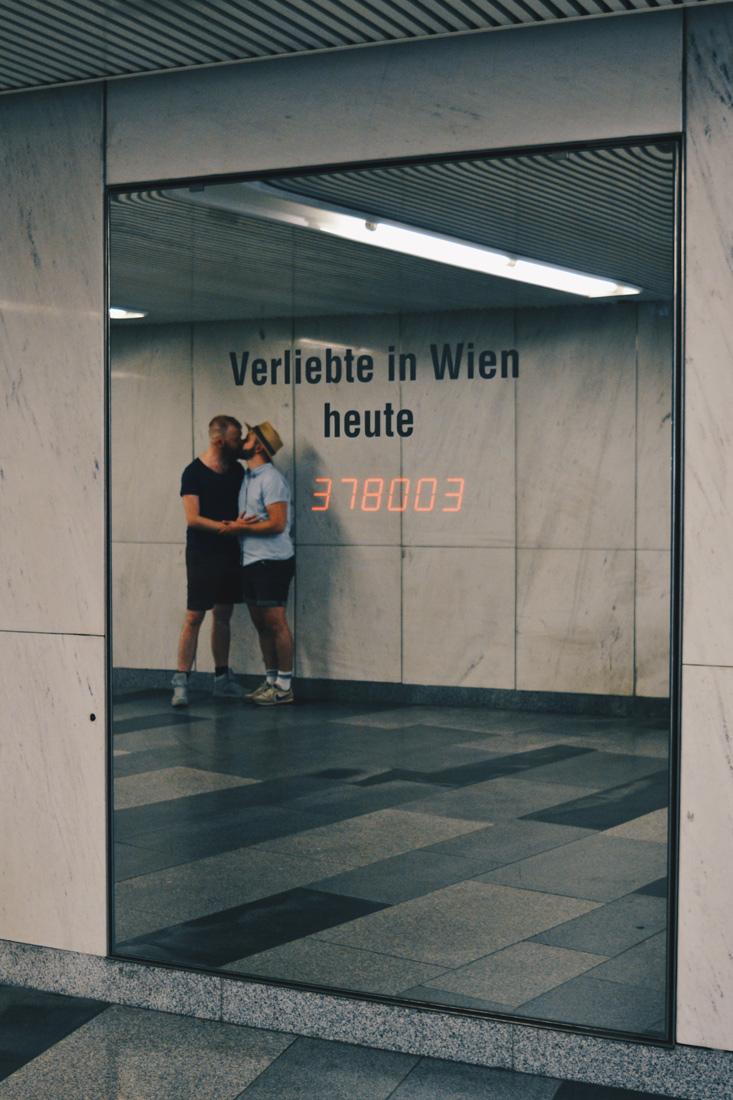 "Gay Wien Designhotel Le Méridien ""People in Love Counter"" at the Pedestrian tunnel at Square Karl's Platz | Gay-friendly Design Hotel Le Méridien Vienna © Coupleofmen.com"