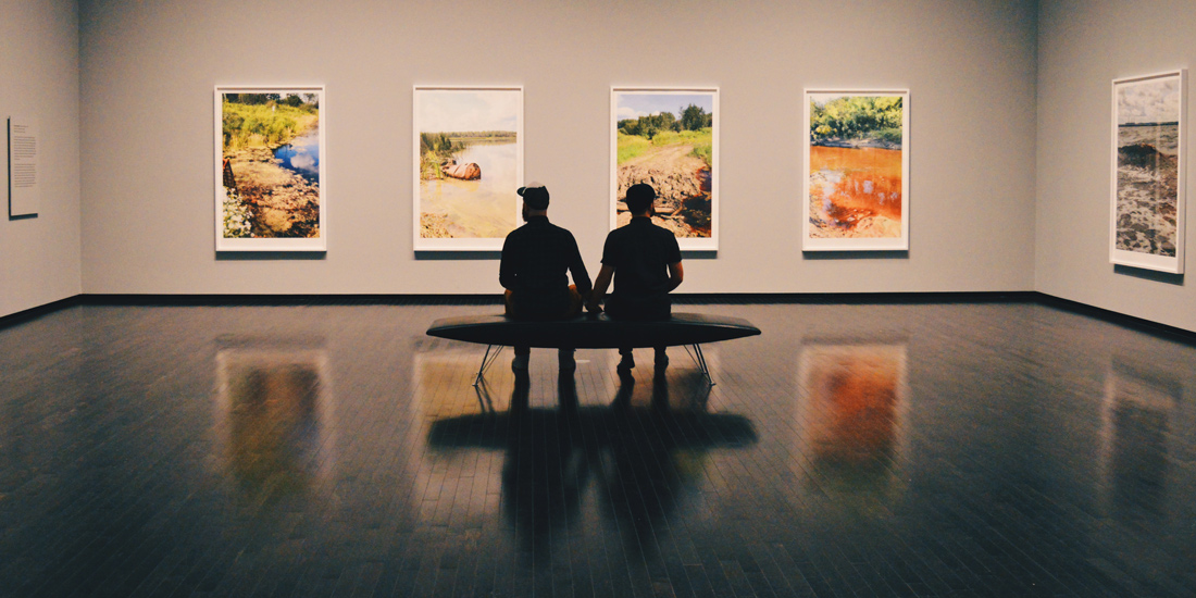 Hand-in-hand in an Exhibition at Art Gallery of Alberta | Road Trip Edmonton Northern Alberta © Coupleofmen.com