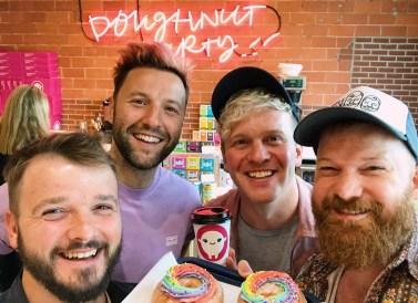 Gay Pride Parade Edmonton Canada Gay Couple Selfie with the Doughnut Party Boys | Gay Edmonton Pride Festival © Coupleofmen.com