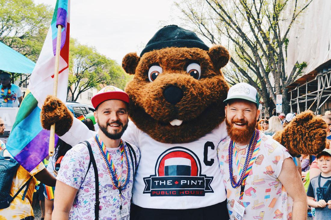 Gay Pride Parade Edmonton Canada Beaver Selfie during the Gay Pride Parade | Gay Edmonton Pride Festival © Coupleofmen.com