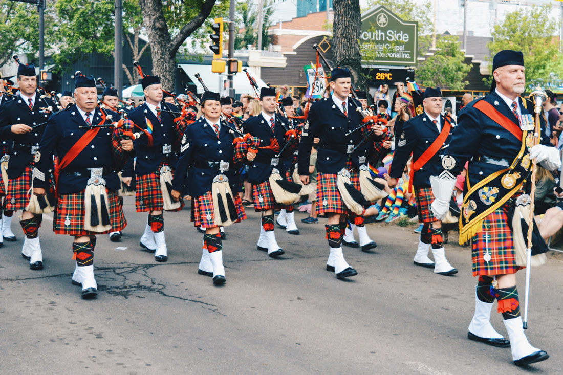 Celebrating Scottish Heritage with Bagpipes | Gay Edmonton Pride Festival © Coupleofmen.com