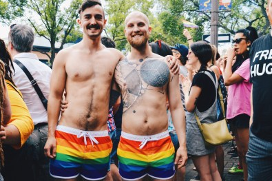 Sporty Gays in Rainbow shorts | Gay Edmonton Pride Festival © Coupleofmen.com