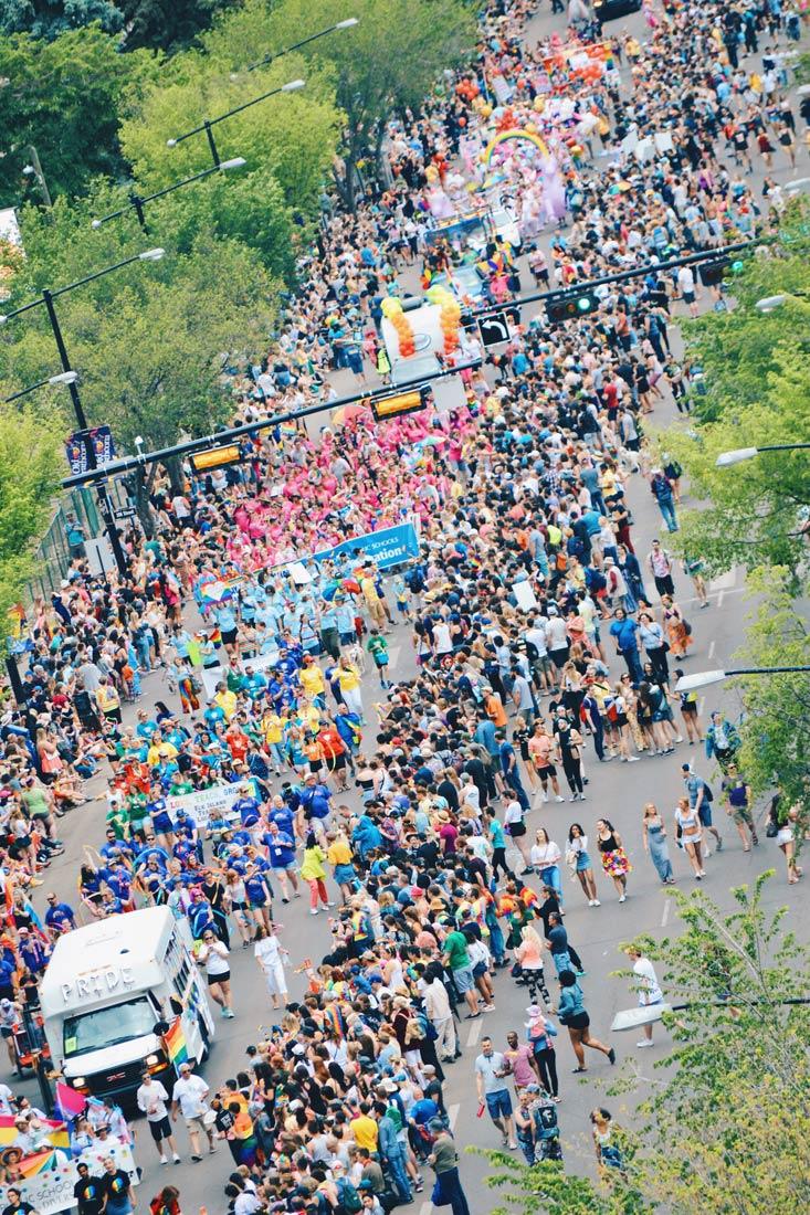 Gay Pride Parade Edmonton Canada Pride Parade on Whyte Avenue Edmonton from a bird's eye perspective | Gay Edmonton Pride Festival © Coupleofmen.com