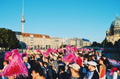 River Spree View from the Museum Island to the TV tower at Berlin Alexanderplatz | CSD Berlin Gay Pride 2018 © Coupleofmen.com