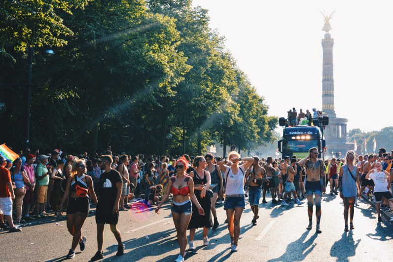 "Catching the sunshine from the Victory Column ""Siegessäule"" over the demonstrators 