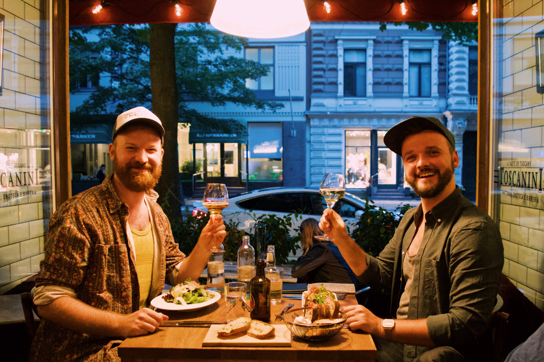 Dinner time with a view at the Italian hotel restaurant Toscanini | Klaus K Hotel Helsinki Gay-friendly Tom of Finland Package © Coupleofmen.com
