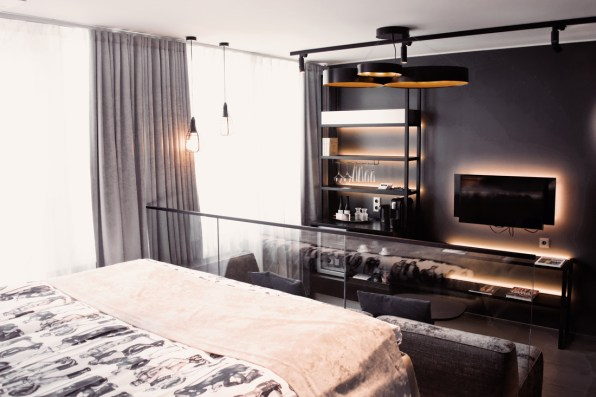 View from the bed on our Sky Balcony Room | Klaus K Hotel Helsinki Gay-friendly Tom of Finland Package © Coupleofmen.com