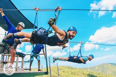 And here we fly away like Superman at Diamante Eco Adventure Park | Gay-friendly Costa Rica © Coupleofmen.com