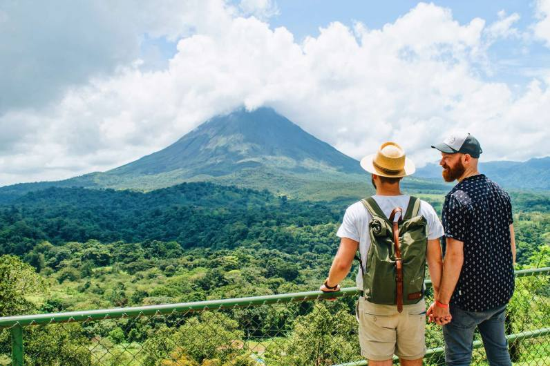 Gay Travel Journal Costa Rica We love the view over the Arenal Volcano and, of course, each other | Gay-friendly Costa Rica © Coupleofmen.com