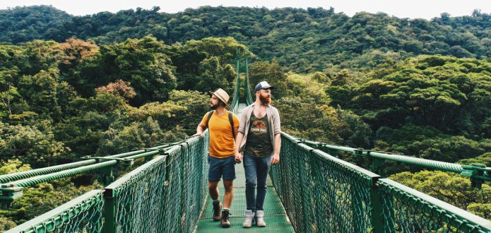 Gay Travel Journal Costa Rica Stunning view over the treetops of the world-famous cloud forest in Monteverde | Exploring Gay-friendly Costa Rica hand-in-hand together © Coupleofmen.com