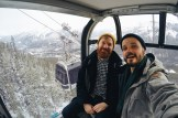 Karl & Daan inside a Banff Gondola Cabin   Winter Road Trip Alberta Highlights Canadian Rocky Mountains © Coupleofmen.com