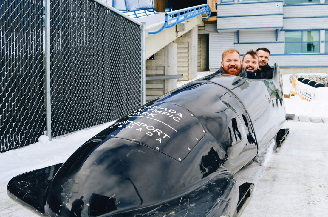 In a bobsled with Simon Dunn at Winsport | Winter Road Trip Alberta Highlights Canadian Rocky Mountains © Coupleofmen.com