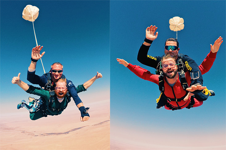 SkyDiving in Namibia with Tinggly Gift Boxes