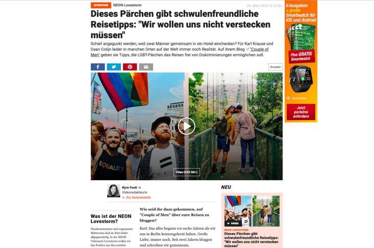 """Stern Interview: Couple of Men über """"Schwulenfreundliche Reisetipps"""""""