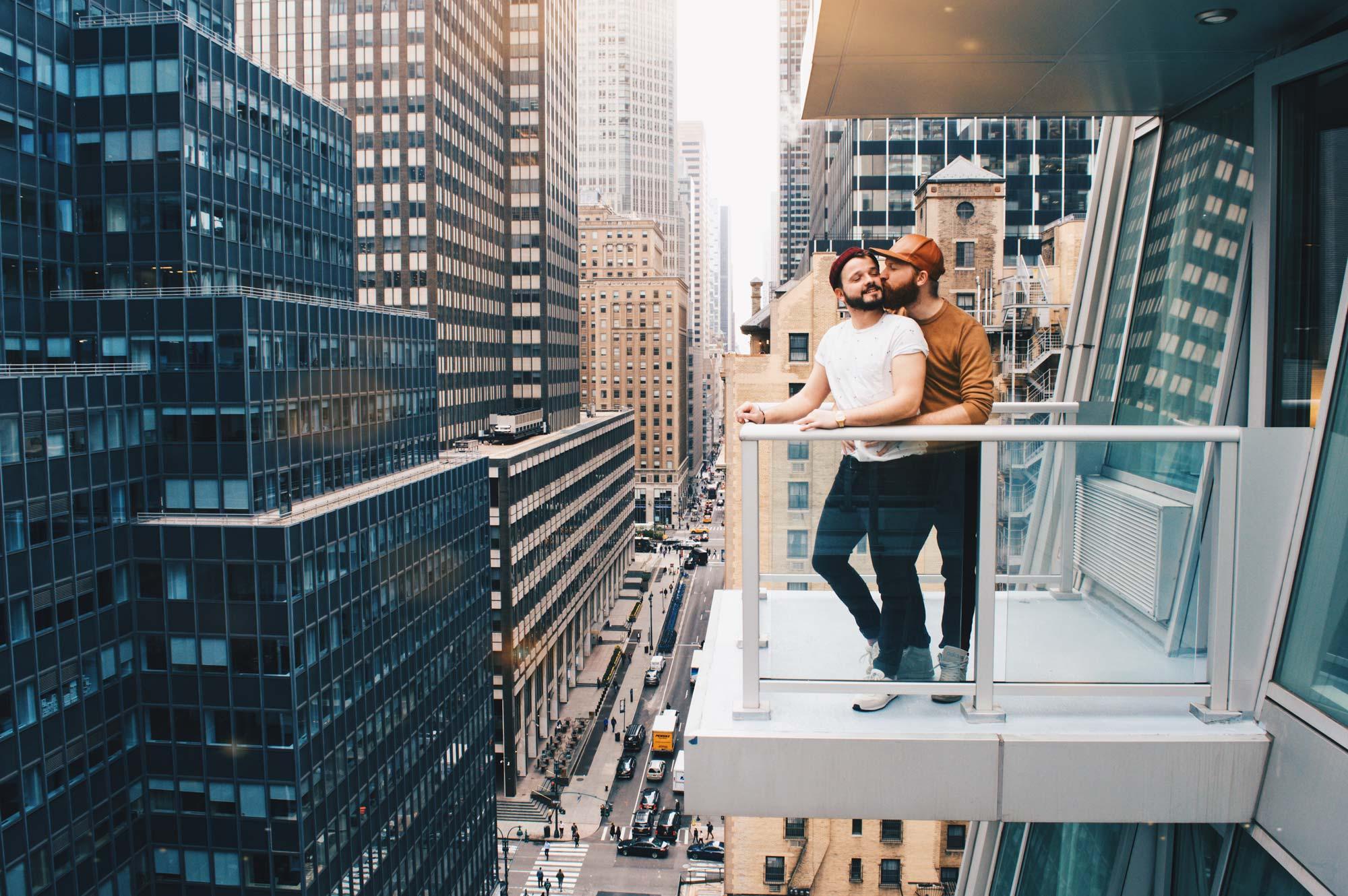 A gay kiss in Manhattan New York City for World Pride 2019 © Coupleofmen.com
