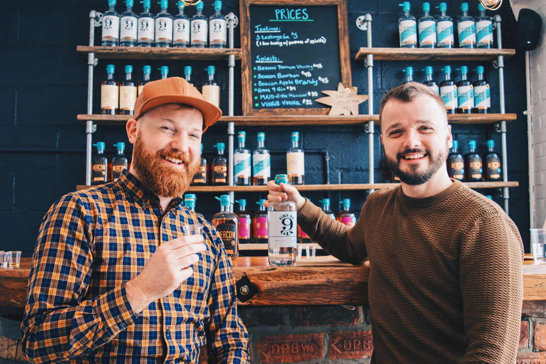 Gay Reise Dutchess County Great 9 Gin it is! This bottle of delicious Gin made at Denning's Point Distillery made it all the way home to Amsterdam © Coupleofmen.com