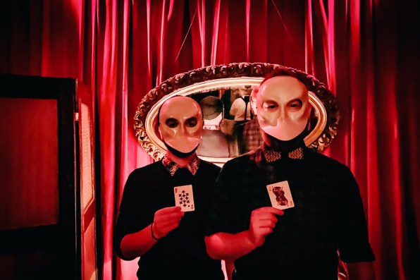 Gay Reise New York Wearing scary grey masks for the performances of Sleep No More   New York City for World Pride 2019 © Coupleofmen.com