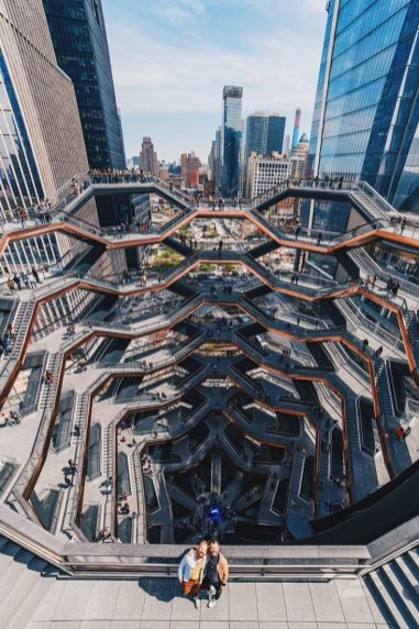 Gay Reise New York Spectacular view from the top of The Vessel over the newest part of Manhattan, Hudson Yards | New York City for World Pride 2019 © Coupleofmen.com