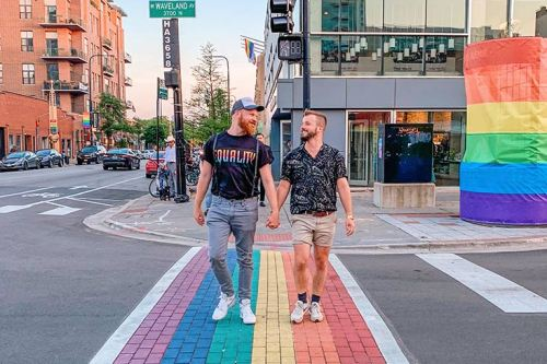 Gay City Guide Chicago © Coupleofmen.com Gay Couple Hand in hand over the rainbow crosswalk in Chicago Boystown