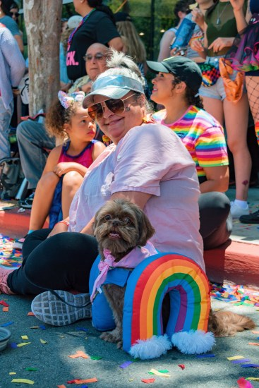 Even some dogs dressed in rainbows supporting LA Pride 2019 in West Hollywood together with their owners © Coupleofmen.com