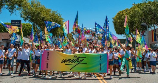 So many proud and rainbow colored people demonstrating side by side on the street for Equality and Love - LA Pride West Hollywood 2019 © Coupleofmen.com