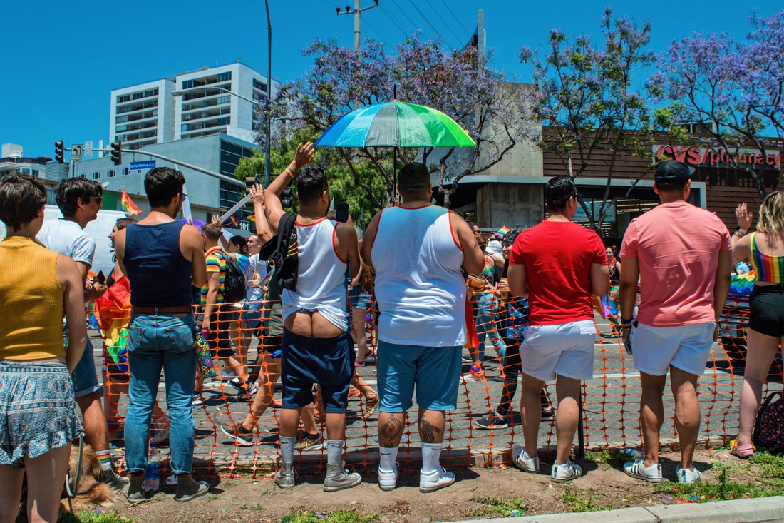 Oops he did it again - Special LA Pride viewing along the route through West Hollywood with a gay's naked butt © Coupleofmen.com