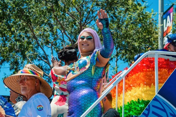 Even more Rainbow dressed Drag Queens on floats during the six hour gay pride parade in Los Angeles © Coupleofmen.com
