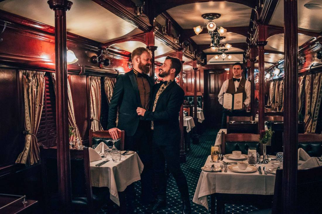 Southern Africa Train Safari with Rovos Rail Jacket and (bow) tie for the dining car with a daily 5-course dinner menu (vegetarian friendly) © Coupleofmen.com