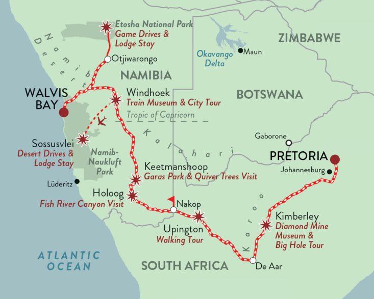 Rovos Rail Namibia Safari Route Map © Rovos Rail