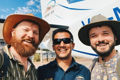 Selfie with our lovely pilot from Desert Air before our flight to Sossusvlei © Coupleofmen.com