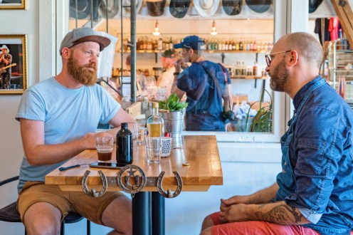 Cake Cowboy from Kivik Daan talking to Markus Lundqvist about the Nazi incident in summer 2018 © Coupleofmen.com