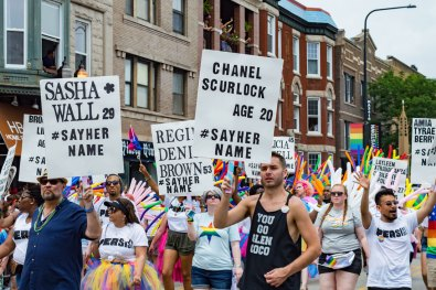 Chicago Gay City Tipps #SayHerName - For those who cannot walk at Chicago Pride Parade 2019 © Coupleofmen.com