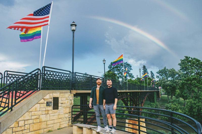 Galena LGBTQ+ Getaway Illinois Rainbow Bridge & Rainbow © Coupleofmen.com