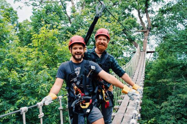 Galena Illinois Road Trip Galena Gay Getaway Illinois Photo moment on the Sky Bridge of Long Hollow Canopy Tours in Galena, Illinois © Coupleofmen.com