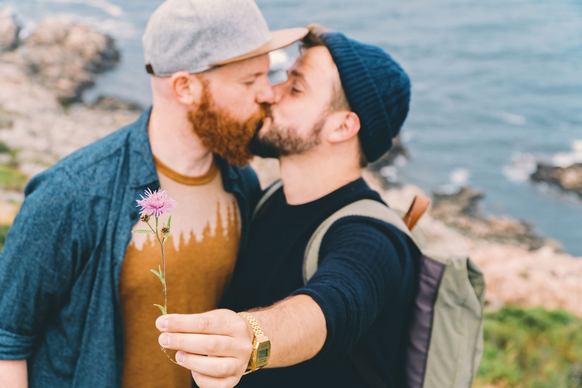 Gay Summer Road Trip Skåne A gay kiss with some flower regards from South Sweden © Coupleofmen.com
