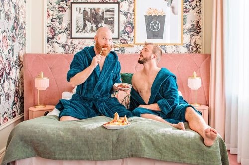 Gay-friendly The Vault Hotel Helsingborg - Bed Selfie © Coupleofmen.com