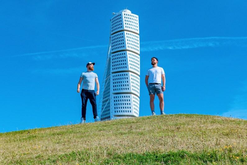 Malmö Gay City Trip South Sweden Gay Selfie with Calatravas Turning Torso © Coupleofmen.com